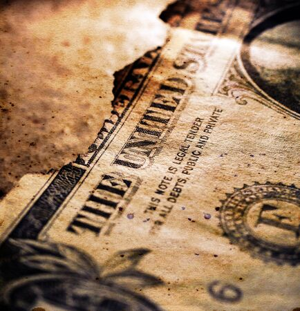 Close up of burnt dollar notes Stockfoto - 126584602