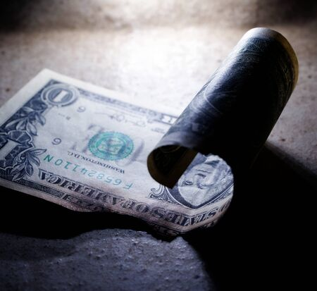 Close up of burnt dollar notes Stockfoto - 126585639