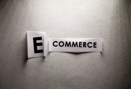 Close up of e-commerce tag label on paper Stockfoto