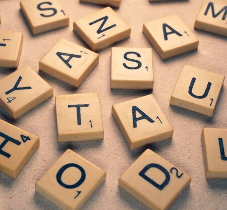 Close up of random  alphabet letters Stockfoto