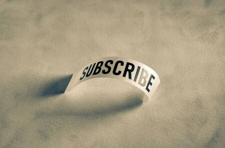 Close up of a subscribe label