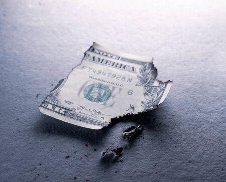 Close up of burnt dollar notes Stockfoto - 126585897