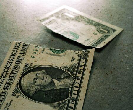 Macro Close up of torn dollars