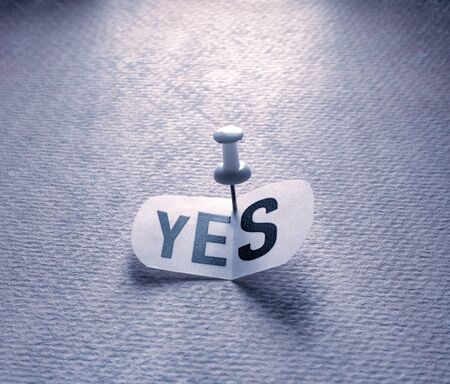 Close up of a Yes tag on paper Stockfoto