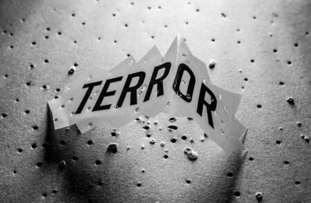 Close up of a Terror Tag implying fear and terror Stockfoto - 126662915