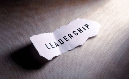 Close up of Leadership label on paper