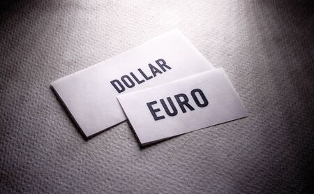 Close up of Foreign Currency Tag Labels Stockfoto - 126437544
