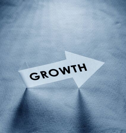 Close up of the word Growth composed of  letters