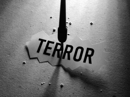 Close up of a Terror Tag implying fear and terror Stockfoto - 126437753