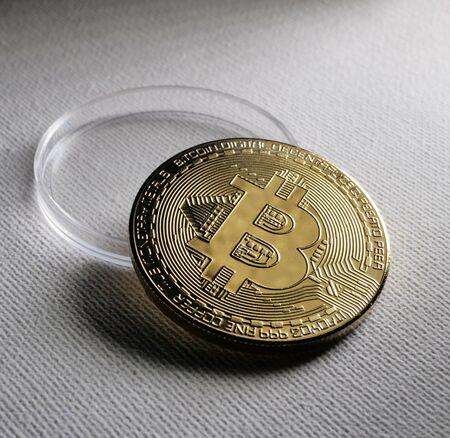 Macro Close up of a bit coin