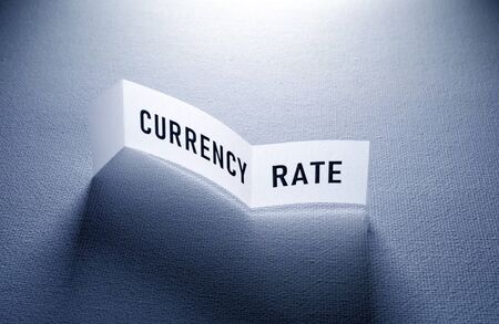Close up of Foreign Currency Rate tag Stockfoto - 126437846