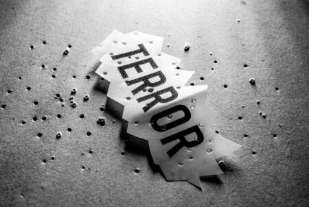 Close up of a Terror Tag implying fear and terror Stockfoto - 126438048