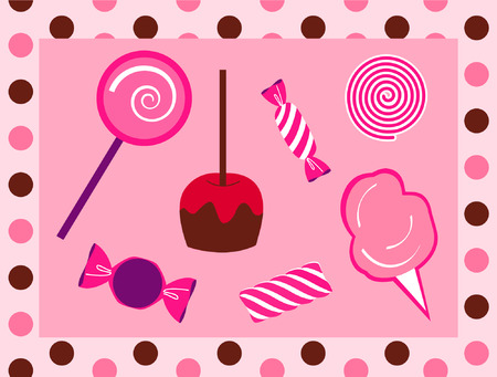 peppermint candy: Assortment of Candy with polka dot border