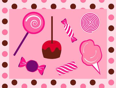 Candy verzameling met polka gestippelde rand Stock Illustratie