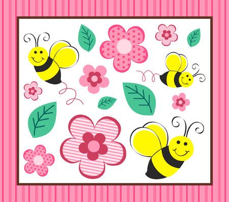 abejas: Cute abejorros y flores