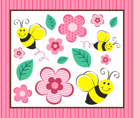 Cute Bumble Bees & Flowers
