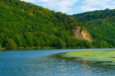 Niederhausen reservoir in the Nahe Valley nature reserve from Boos to Niederhausen Bad Kreuznach, Rhineland-Palatinate, Germany Stockfoto