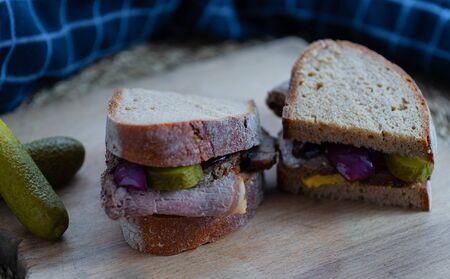 Roast beef sandwich with cucumbers Stok Fotoğraf