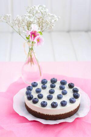 Vegan chocolate-cheese cake with vegan cream cheese, ground almonds, vanilla pulp and fresh blueberries Stok Fotoğraf