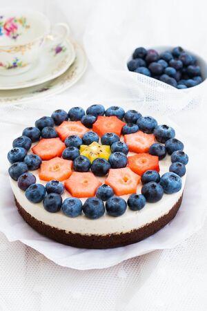 Vegan walnut fresh cheese, vanilla pulp and fresh fruits, blueberries, strawberries and kiwi fruit Stok Fotoğraf