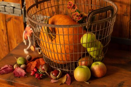 Autumn decoration rustic background