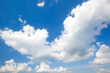 Panorama of clouds against the pure blue sky