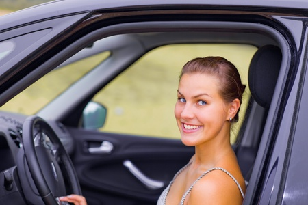 Beautiful Girl Portrait with Her New Vehicle Stock Photo - 10619539