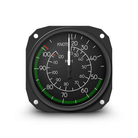 gauges: Air speed indicator of popular small helicopter (R22) - Instrument from dashboard. (raster, sRGB) Stock Photo