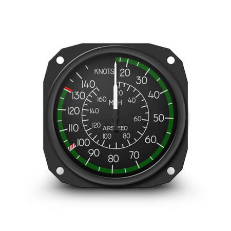 air speed: Air speed indicator of popular small helicopter (R44) - Instrument from dashboard isolated on white. (raster, sRGB)