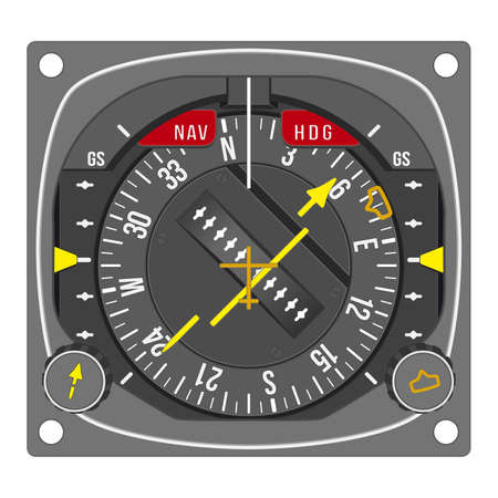 situation: Aircraft gauge - horizontal situation indicator - Navigation instrument from dashboard isolated on white background. (raster, sRGB)