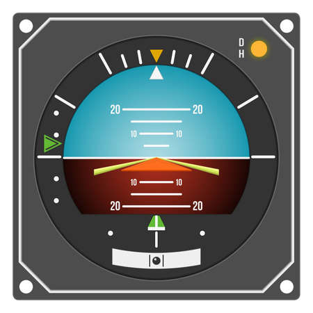 avionics: Aircraft gauge - Flight Director Indicator - Navigation instrument from dashboard isolated on white background. (raster, sRGB)
