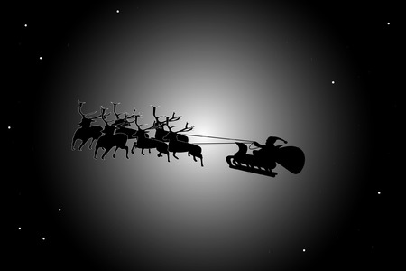 Father Christmas in the sky Vector
