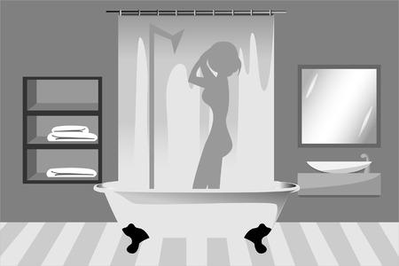 frau dusche: Eine Frau nimmt eine Dusche im Badezimmer Illustration
