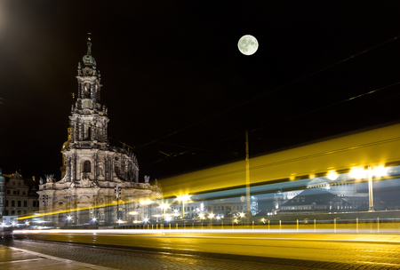 Dresden Cathedral & yellow tram Stock Photo
