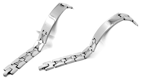 isoalated: Silver stainless steel mens bracelet. On a white background