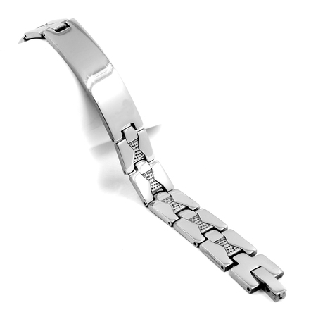 Silver stainless steel mens bracelet. On a white background