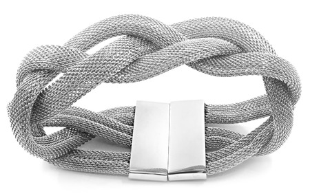 Stainless steel bracelet on a white background Stock Photo