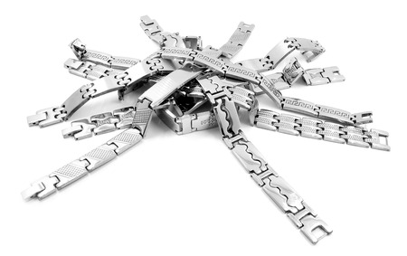 isoalated: Stainless steel bracelet on a white background Stock Photo