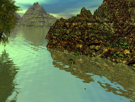 fantasy: Fantasy landscape, mountains and water. 3D illustration