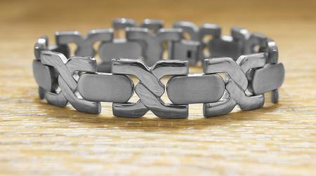 Bracelet for men. Stainless steel. Gift of love Stock Photo