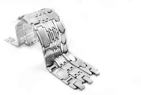 Bracelet for men. Stainless steel. White background.