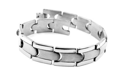 isoalated: Bracelet for men. Stainless steel. White background.