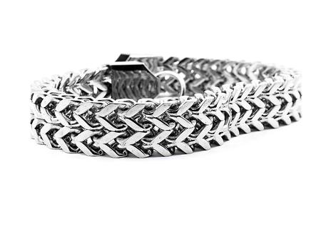 isoalated: Mens bracelet, silver, stainless steel, white background