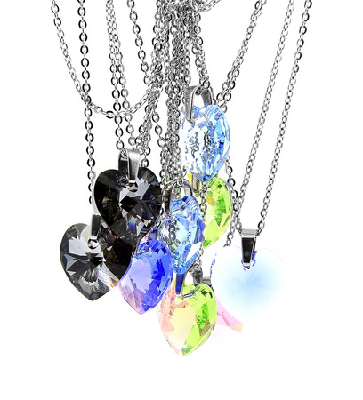 crystal heart: Necklace, crystal heart. White background Stock Photo