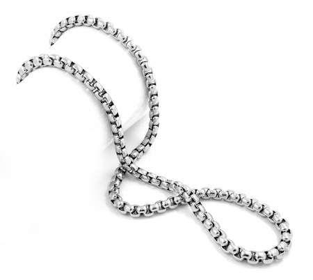 stainless: Unisex silver chain - Stainless Steel - White background