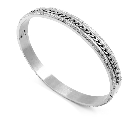 silver jewelry: Ladies Jewelry Bracelet - Stainless Steel - Silver - White background