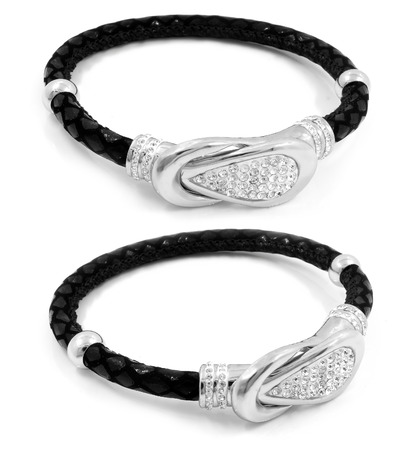 Ladies bracelet - Stainless steel and leather - Product Photo - White background