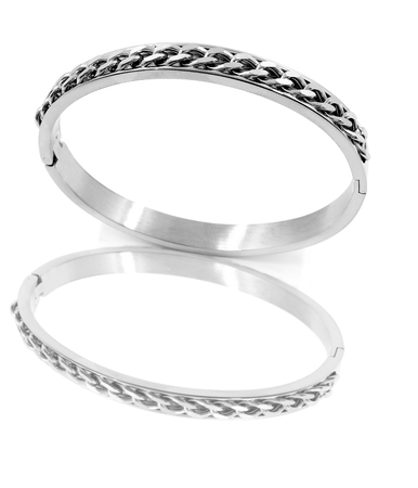 Ladies Jewelry Bracelet - Stainless Steel - Silver - White background