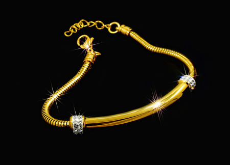 Gold bracelet with crystals - For women - Stainless Steel