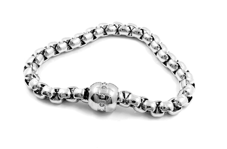 Ladies silver bracelet - Stainless Steel - Isolated Stock Photo